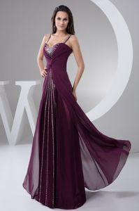 Elegant Purple Brush Beaded College Graduation Dress with Straps