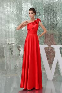 Flowers One Shoulder Red Long Graduation Dress For High School