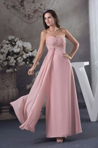 Simple Sweetheart Pink Beaded Long Graduation Dresses For Girls