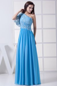 Baby Blue One Shoulder Long College Graduation Dress with Lace
