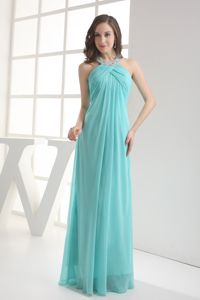 Beaded Halter Aqua Blue Ruched Long College Graduation Dresses