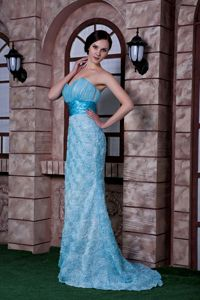 Embossed Fabric Sweetheart Aqua Blue Graduation Dress Popular