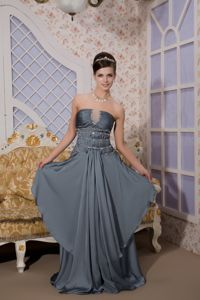 Grey Empire Strapless Brush Train Graduation Dresses for College