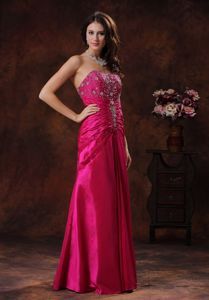 Lace-up Beaded Long Evening Dresses for Graduation in Hot Pink
