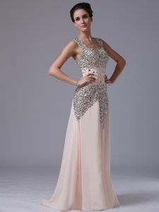 Baby Pink Square Neck Long Graduation Dress with Rhinestones
