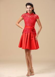 High-Neck Red Lace Taffeta Graduation Dress with Cap Sleeves