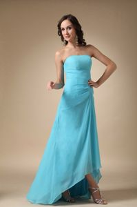 High-low Zipper-up Aqua Blue Graduation Dresses for 8th Grade