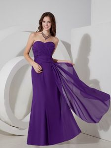 Custom Made Chiffon Floor-length Purple Graduation Dresses