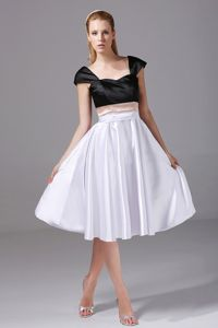 White and Black University Graduation Dresses with Cap Sleeves
