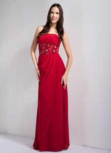 Wine Red Long Evening Dress for Graduation with Floral Appliques