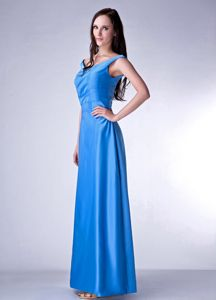 Recommended V-neck Sky Blue Middle School Graduation Dress