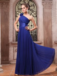 One Shoulder Flower Pleated Royal Blue Graduation Dress online