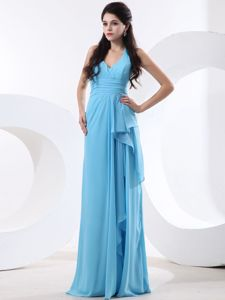 Chiffon Halter Baby Blue Long Graduation Dresses for Juniors