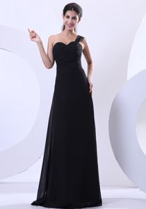 Perfect One Shoulder Black Long Prom Dresses for Graduation