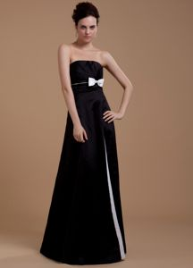Strapless Black Long Graduation Dresses for Grade 8 with Bow