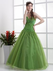 Good Quality Ball Gown Beaded Olive Green Graduation Dress