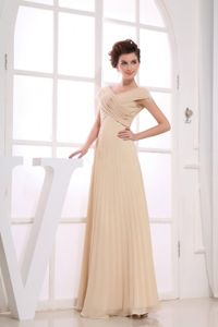 V-neck Pleated Long Champagne Graduation Dress for 8th Grade