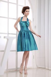 Halter Top Short Teal Middle School Graduation Dress with Bow