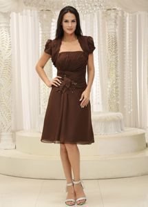 Chiffon Strapless Ruched Brown Graduation Dresses Under 150