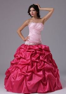 Ball Gown Beaded Coral Red and Rose Pink Graduation Dresses