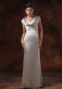 Cowl Neck Sliver Long Graduation Dress with Button Down Back