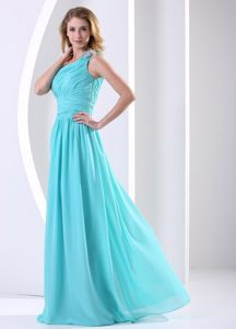 Hot Aqua Blue One Shoulder Long Graduation Dresses for Juniors