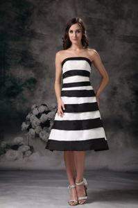Strapless White and Black College Graduation Dress with Stripe