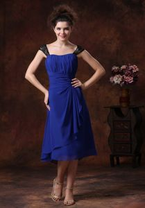 Simple Navy Blue Tea-length Graduation Dress for College on Sale