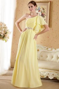 Court Train Yellow University Graduation Dresses One Shoulder