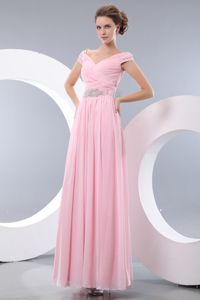 Baby Pink Off the Shoulder Beading Evening Dress For Graduation