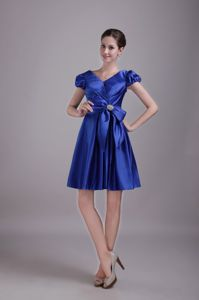 Blue V-neck Evening Dress for Graduation with Cap Sleeve and Bow