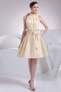 High Neck University Graduation Dress with Sash and Bowknot