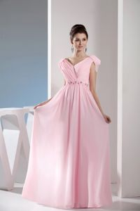 Light Pink V-neck Bead and Ruched Eighth Grade Graduation Dress