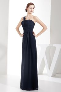 One Shoulder Navy Blue Chiffon Graduation Dresses for Grade 8