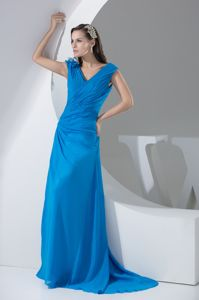 2014 Spring Blue Graduation Dress for College with Ruched Bodice