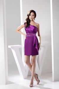 Single Shoulder Graduation Dress for 8th Grade with Beaded Sash