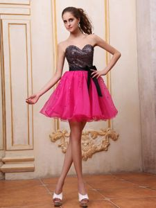 Hot Pink Mini-length Grad Dresses with Sequins and Black Bowknot