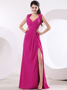 Fuchsia V-neck Ruched Grad Dress with High Slit and Brush Train