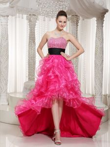 Hot Pink Graduation Ceremony Dresses in High-low with Beading