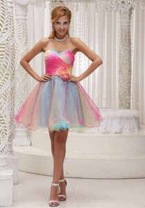 Omber Color Sweetheart Ruched Grad Dresses with Hand Flowers
