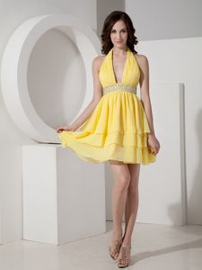 Yellow Halter Chiffon Mini-length College Grad Dress with Beading
