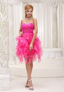 Hot Pink Beaded Organza University Graduation Dress with Ruffles