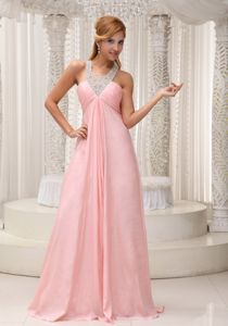 Beaded Scoop Ruched Grad Dresses with Brush Train in Baby Pink