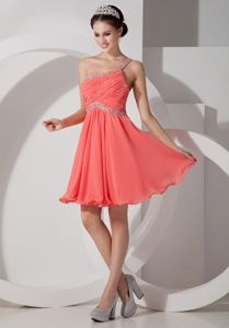 Orange Red One Shoulder Chiffon Junior Grad Dress with Beading