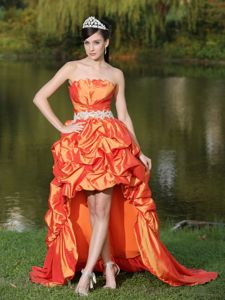 High-Low Taffeta Strapless Prom Dresses For Grad in Orange Red