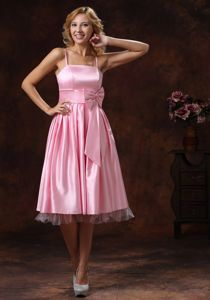 Tea-length Baby Pink Junior Graduation Dress with Spaghetti Straps