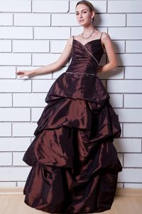 A-line Floor-length Taffeta Cheap Grad Dress with Beading in Brown