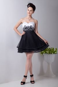 Black and White Sweetheart Mini-length Grad Dress with Appliques