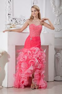 Coral Red and Pink Mermaid High-low Grad Dresses with Beading