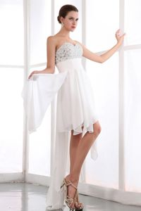 Sweetheart Chiffon College Graduation Dress with Beading in White